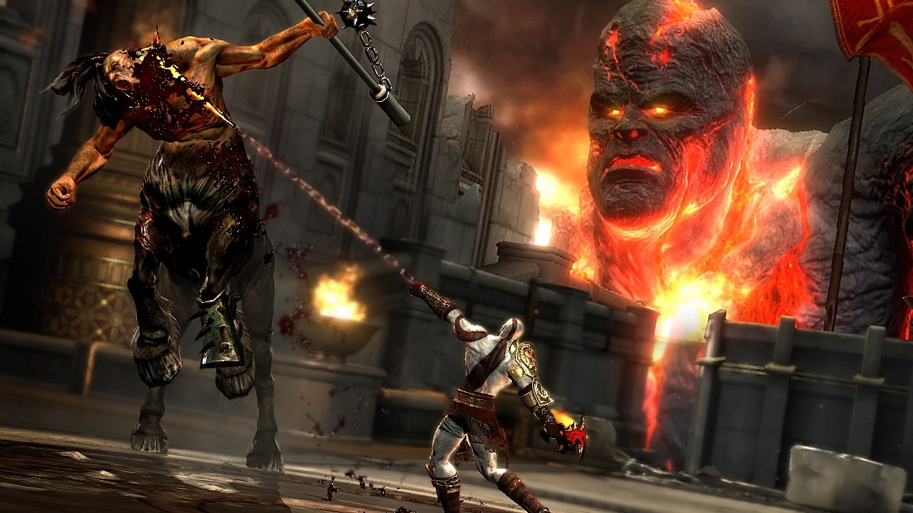 A masculine figure attacks another, while a giant flaming head looms over them.