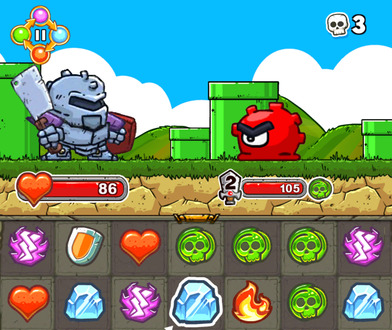 An armoured figure approaches a frowning slime creature with one eye. Several symbols are beneath them, including lightning, a shield, a love heart, skulls, ice crystals, and flames.