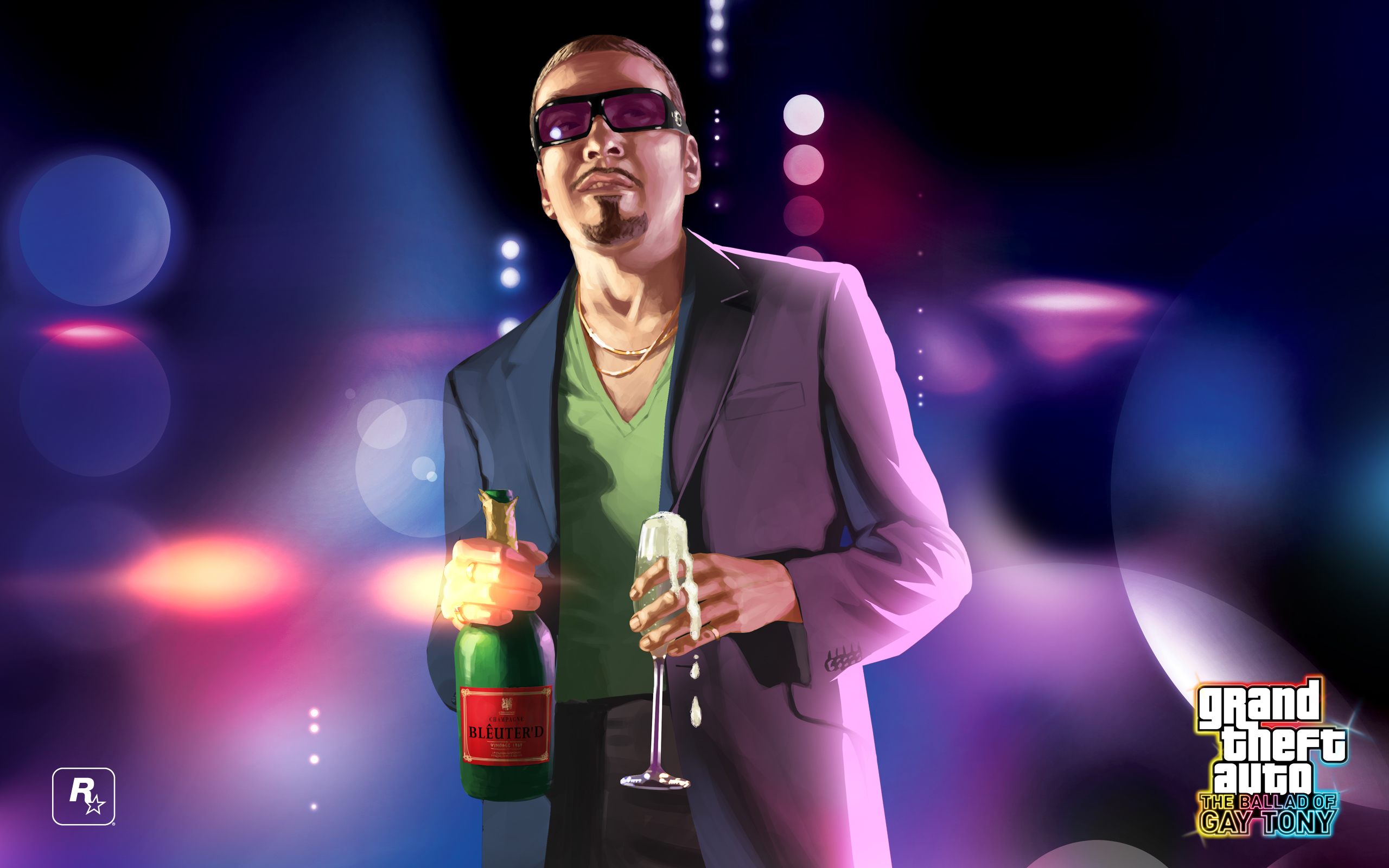 A masculine figure wears sunglasses inside, holding a bottle of champagne and an overflowing glass.