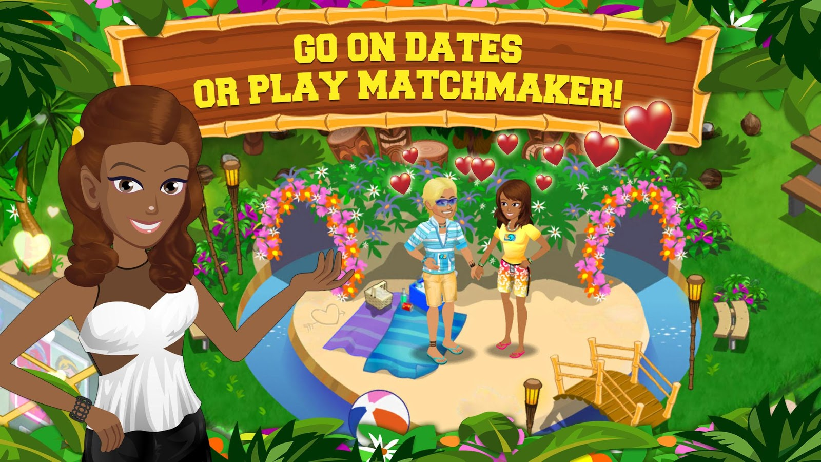 A femme looking person and a gender ambiguous person hold hands on a sandy island near two tunnels in a park. Femme looking person gestures towards text. Text reads 'Go on dates, or play matchmaker'.