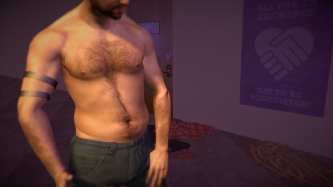A shirtless masc appearing person wearing two black armbands standing in a bedroom.