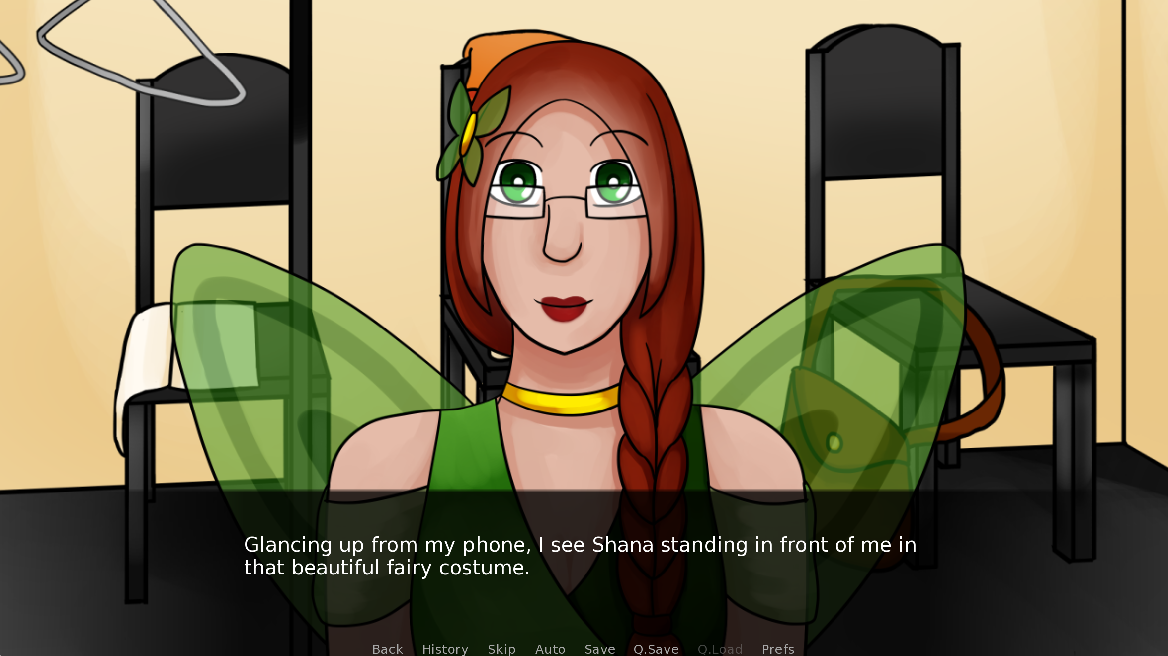 A femme looking person wearing fairy wings. Dialogue reads 'Glancing up from my phone, I see Shana standing in front of me in that beautiful fairy costume.'.