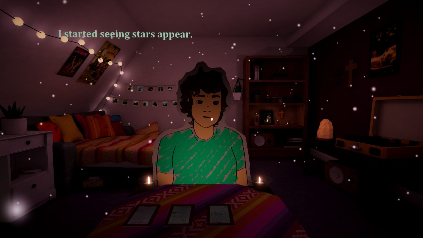 A feminine figure sits across a table. Text in the top left corner says 'I started seeing stars appear.'