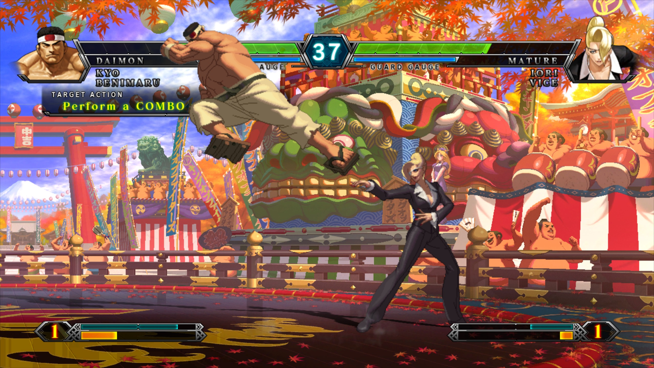A large muscular masc looking person performing a downward kick onto a femme looking person in a suit who has her hands raised. Two progress bars sit at the top of the screen, and two bars sit at the bottom. Text reads 'Perform a combo'.