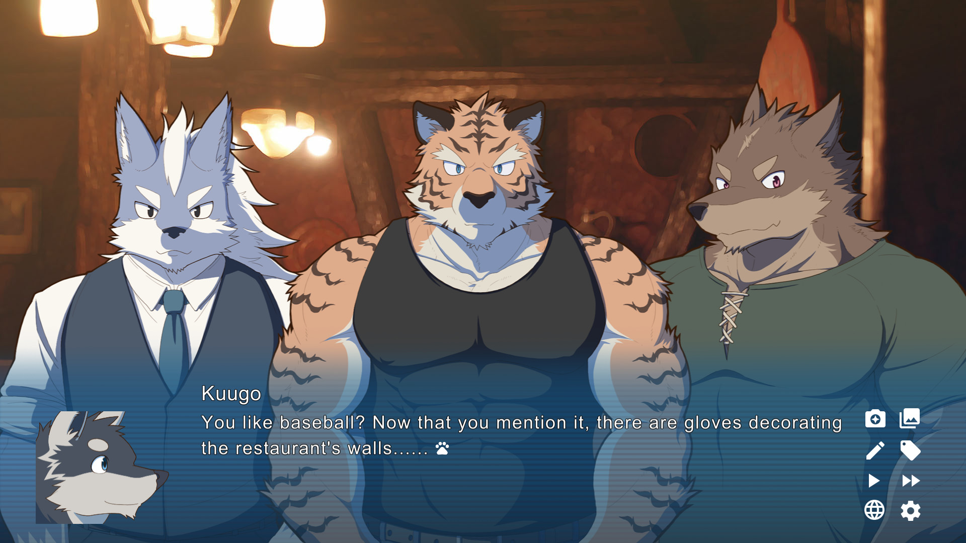 Two humanoid wolves and a humanoid tiger, all wearing clothes, standing indoors. Dialogue reads 'You like baseball? Now that you mention it, there are gloves decorating this restaurant's walls'