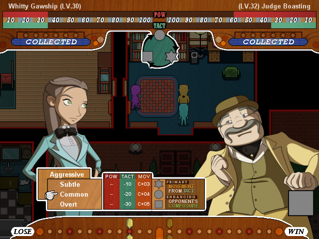 A femme looking person and a masc looking person. Background is a map with various rooms. Text reads 'Whitty Gawship Level 30' and 'Judge Boasting Level 32' and other menu screens.