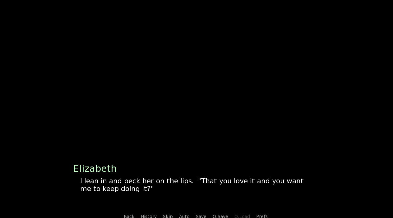 A dialogue screen shows a character called 'Elizabeth' saying 'I lean in and peck her on the lips. 'That you love it and you want me to keep doing it?''