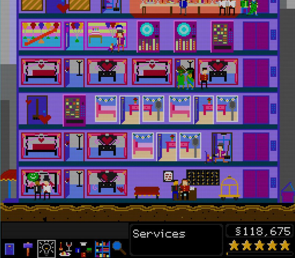 A cheerful looking hotel with multiple floors and many different styles of rooms. Pairs of people are in different rooms. Text reads 'Services' and '118,675 dollars'.