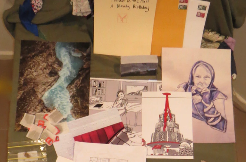 Some pictures and photos. Top left, a river and waterfall. Middle, a person sitting on a bed, hand drawn. Right, an older femme looking person wearing a hood. Bottom, a large birthday cake. Stamps, letters and envelopes are scattered around.