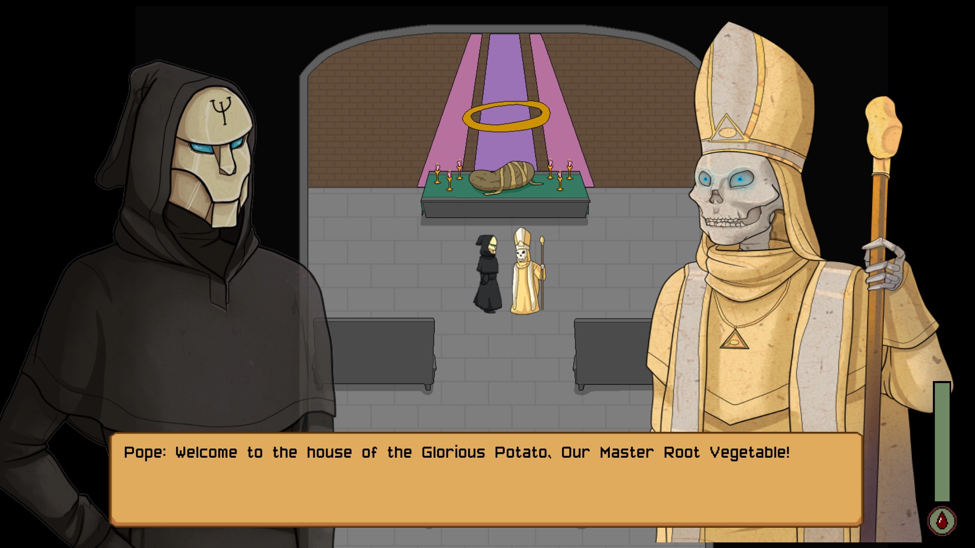 A masked and hooded figure speaks to a skeleton dressed like a pope. The pair stand in front of a giant bandaged potato, which has a halo and is surrounded by candle sticks. A dialogue overlay says, 'Pope: Welcome to the house of the Glorious Potato, our master root vegetable!'