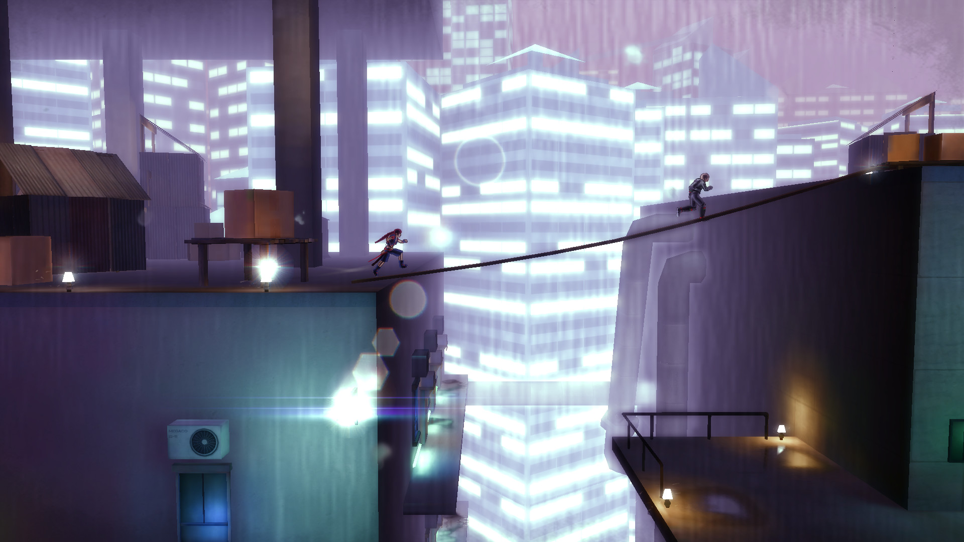 A thin rope between two buildings in a raining city at night. One person is chasing another person across the rope.