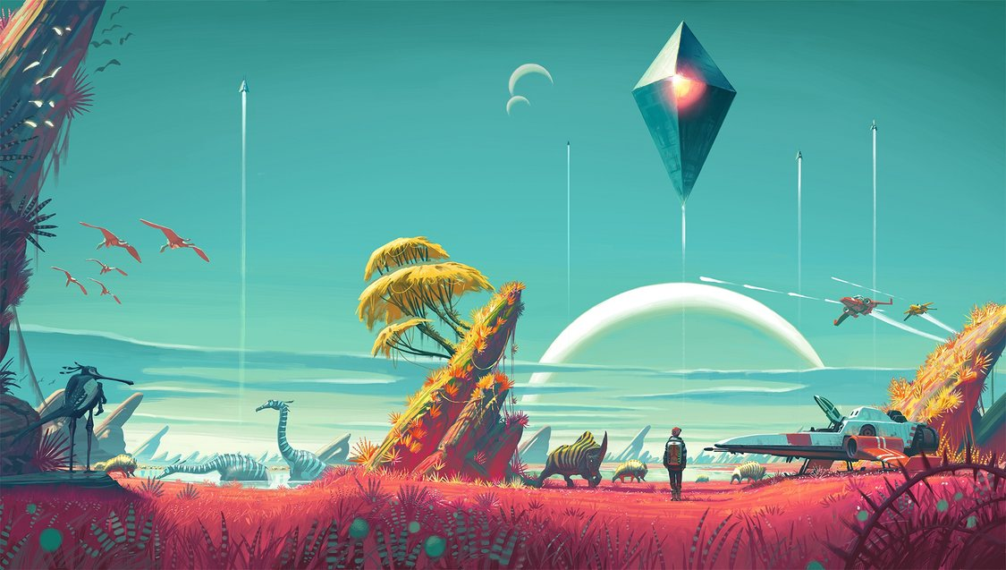 Oddly coloured landscape with trees, rocks and grass. Unusual reptilian and bird creatures. A person stands next to a spaceship, with more ships and a giant diamond-shaped object in the sky.
