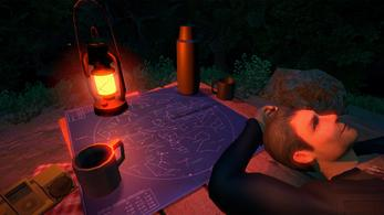 Masc looking person lying down outdoors at night. Picnic rug and table with stargazing map, drink, radio and lantern.