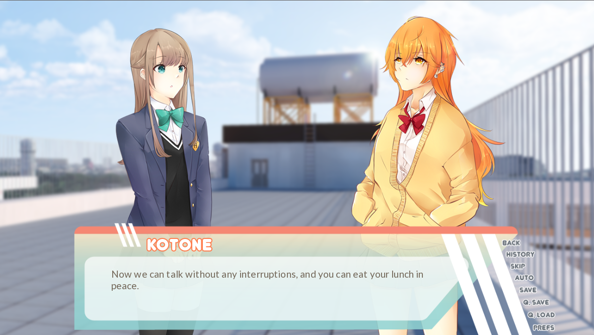 Two feminine figures, one with brown hair and one with orange hair, are talking. There is a dialogue box indicating that the one with orange hair, Kotone, is speaking. She says 'Now we can talk without any interruptions, and you can eat your lunch in peace.'