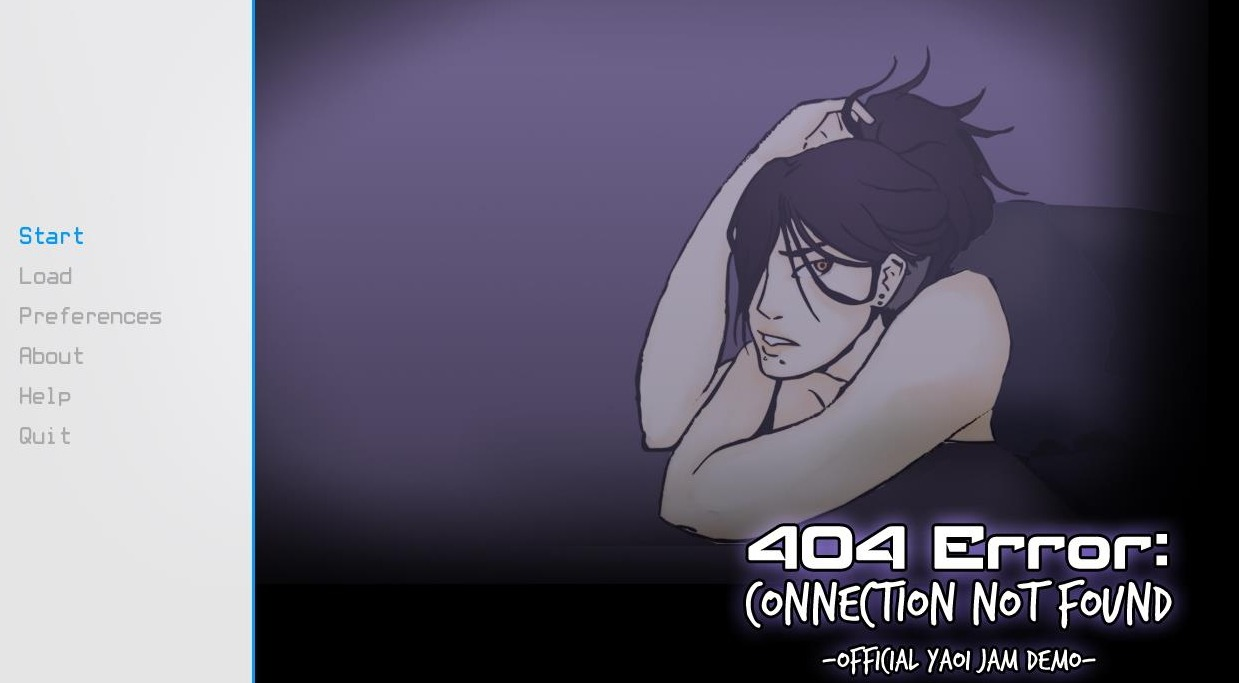 Game title screen featuring a femme appearing person who is clutching her hair, looking sad or in pain.
