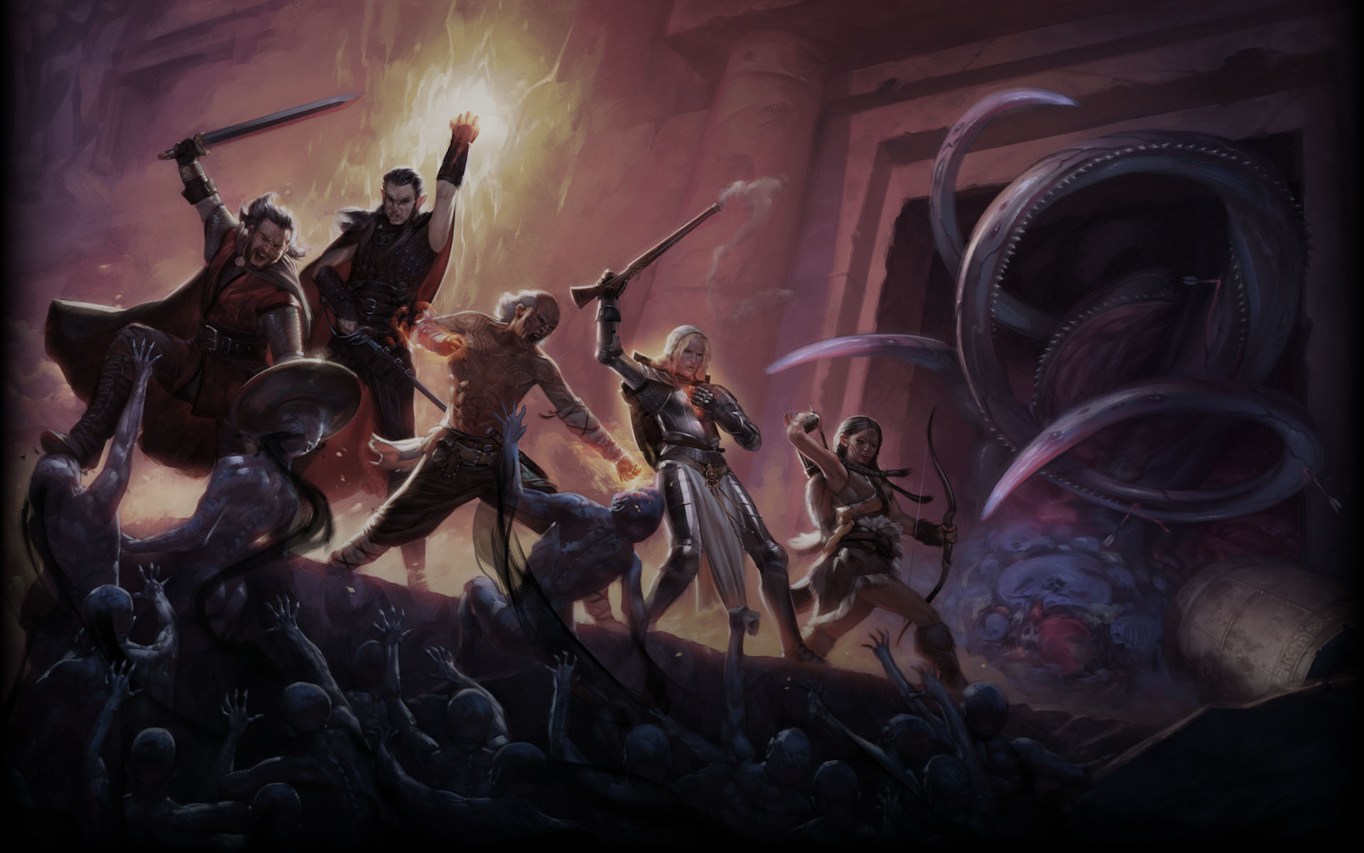 Several figures with swords and magic stand together as hordes of humanoid creatures approach them.