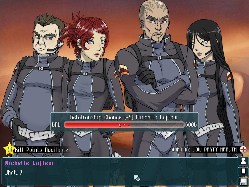Two masculine and two feminine figures stand in front of a text overlay, which reads, 'Michelle Lafleur: What...?' The game interface reads 'Relationship change minus five Michelle Lafleur.