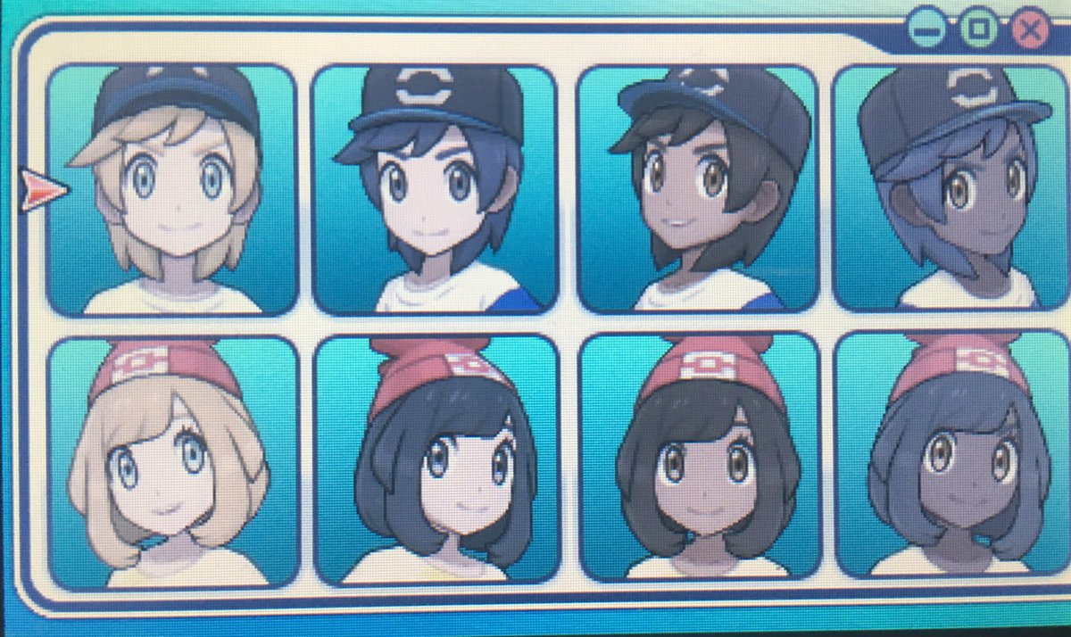 Pokemon Sun and Moon appearance selection screen with six character faces. Three have long hair and eyelashes, three have shorter hair and no eyelashes.