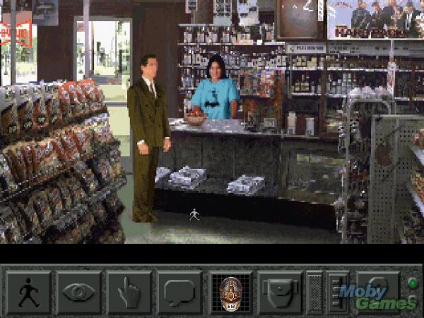A masculine figure speaks to a feminine figure who is behind the counter of a shop.