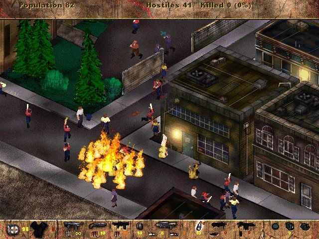 A city street, with people on fire. A strip across the bottom of the screen shows various weapons.