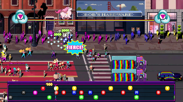 A screen shows a progression of button taps, and many colourful characters marching through a street.