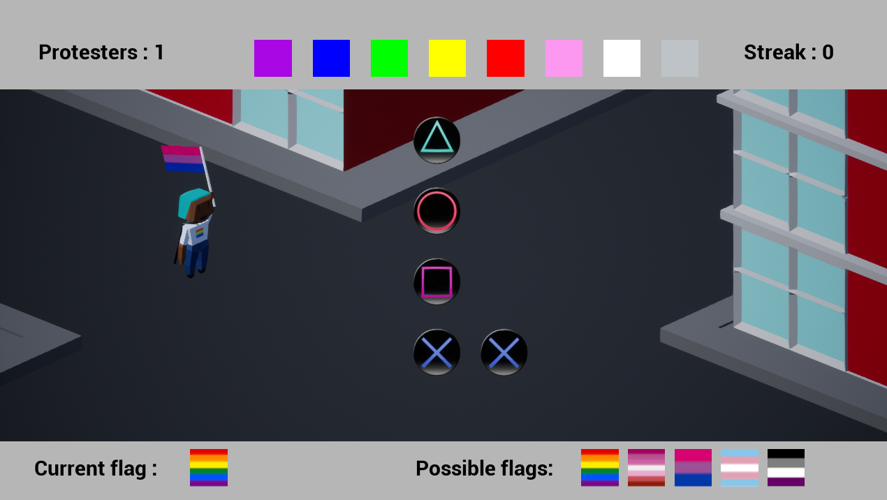 A figure holds a bisexual pride flag on a street while several symbols of PlayStation controller buttons overlay on the screen.