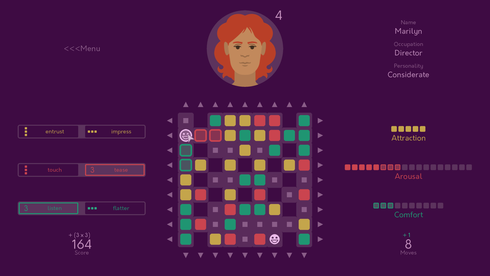 A feminine face is situated above a board of coloured squares. To the right side are bars indicating levels of 'Attraction', 'Arousal', and 'Comfort'.
