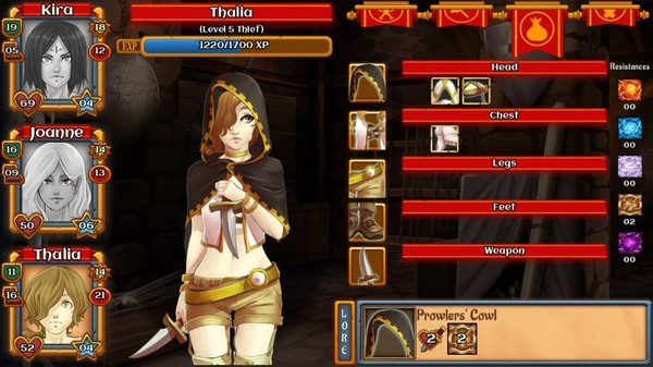 A femme looking person standing in a old building. Menu screen with different options.