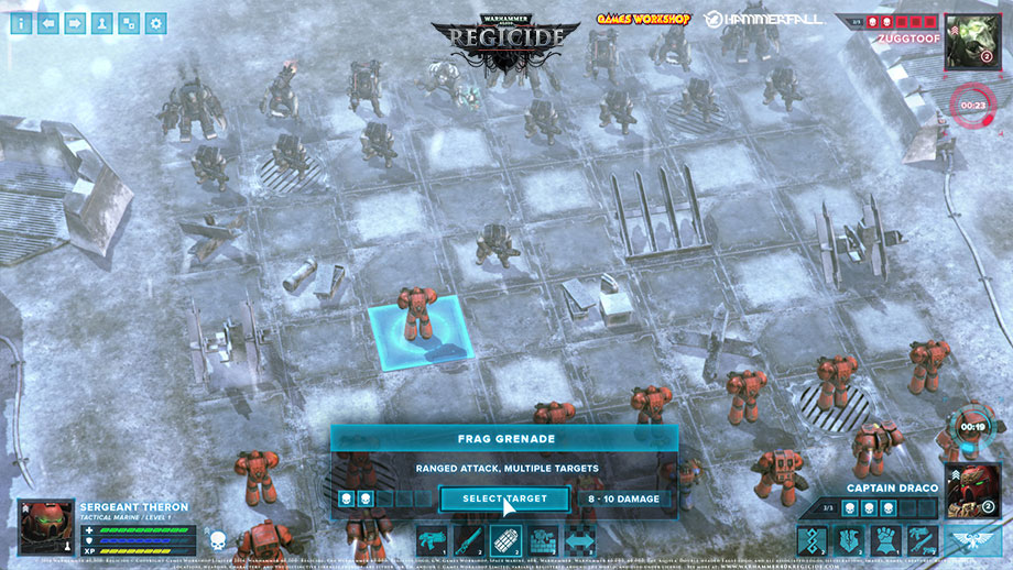 A chess board with rows of creatures and robots approaching each other. A text overlay reads, 'Frag grenade. Ranged attack, multiple targets. Select target.'