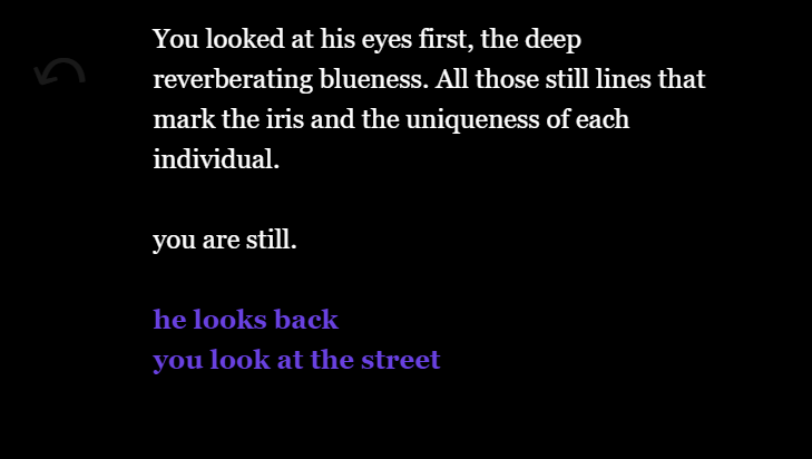 A text-based game. 'You looked at his eyes first, the deep reverberating blueness. All those still lines that mark the iris and the uniqueness of each individual. you are still.' Options 'he looks back' and 'you look at the street'.