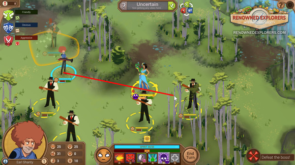 Several people standing outside near trees and grass, holding baseball bats and weapons. Arrows show who is attacking who.