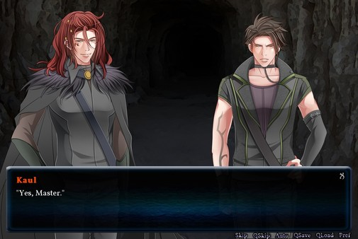 A masc looking person and a gender ambiguous person standing at the entrance to a cave. Dialogue reads 'Yes, master.'