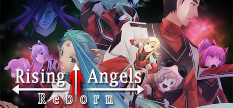 Several figures gather behind the Rising Angels Reborn game title.