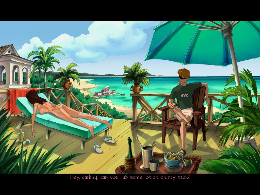 A masc looking person sits under an umbrella  on a deck surrounded by plants near the ocean. A femme looking person wearing only bikini bottoms lies face down on a deck chair. Dialogue reads 'Hey darling, can you rub some lotion on my back?'.