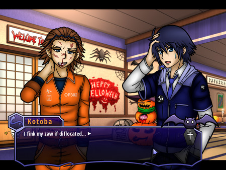 Two gender ambiguous people standing indoors. One looks beaten and bruised. Dialogue reads 'I fink my zaw if diffolocated.'