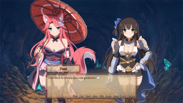 Two femme looking people with unrealistic breasts walking in a cave. One has cat ears. Dialogue reads 'I am here to simple provide guidance.'