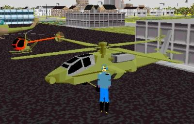 A gender ambiguous person standing in front of a helicopter in a suburban area.