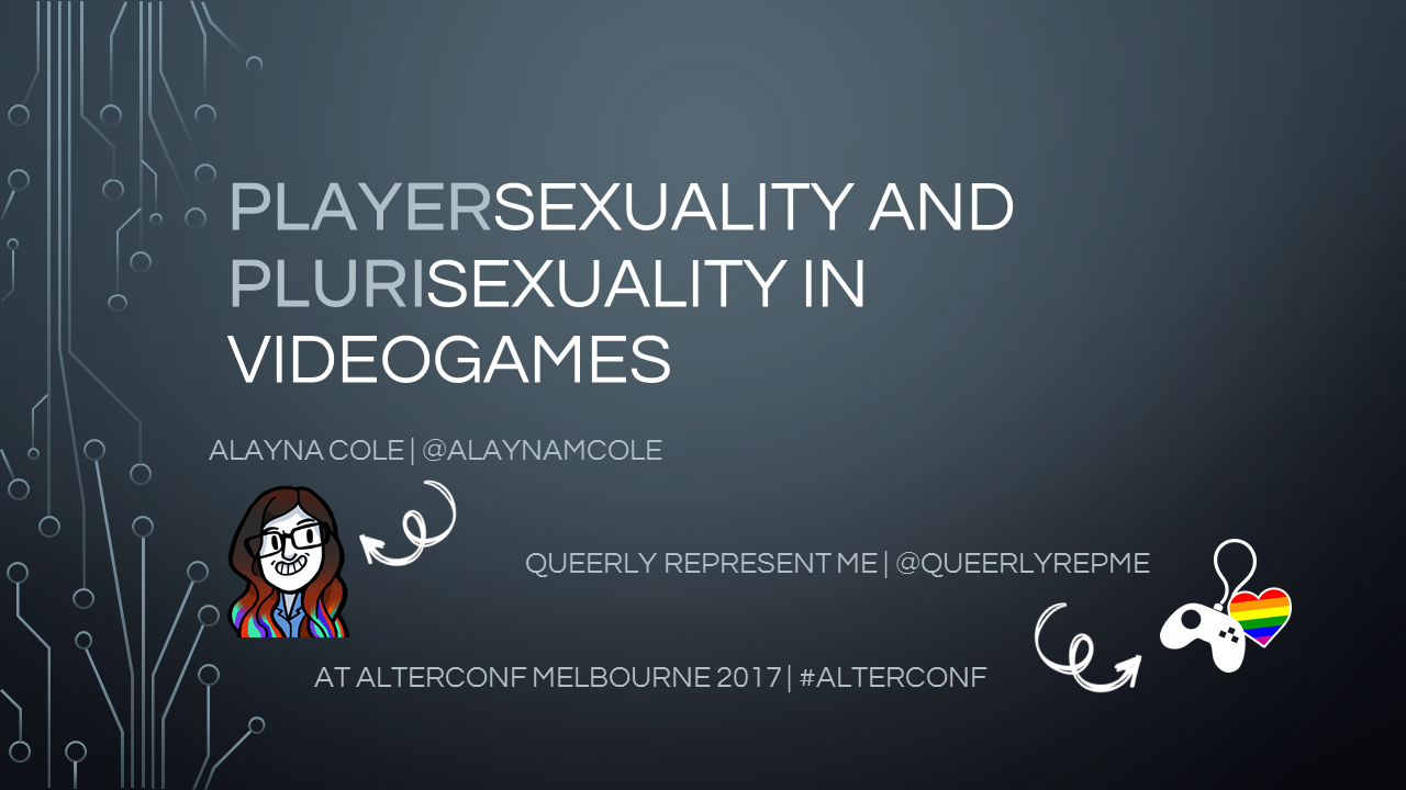 Playersexuality and plurisexuality in videogames. Opening slide.