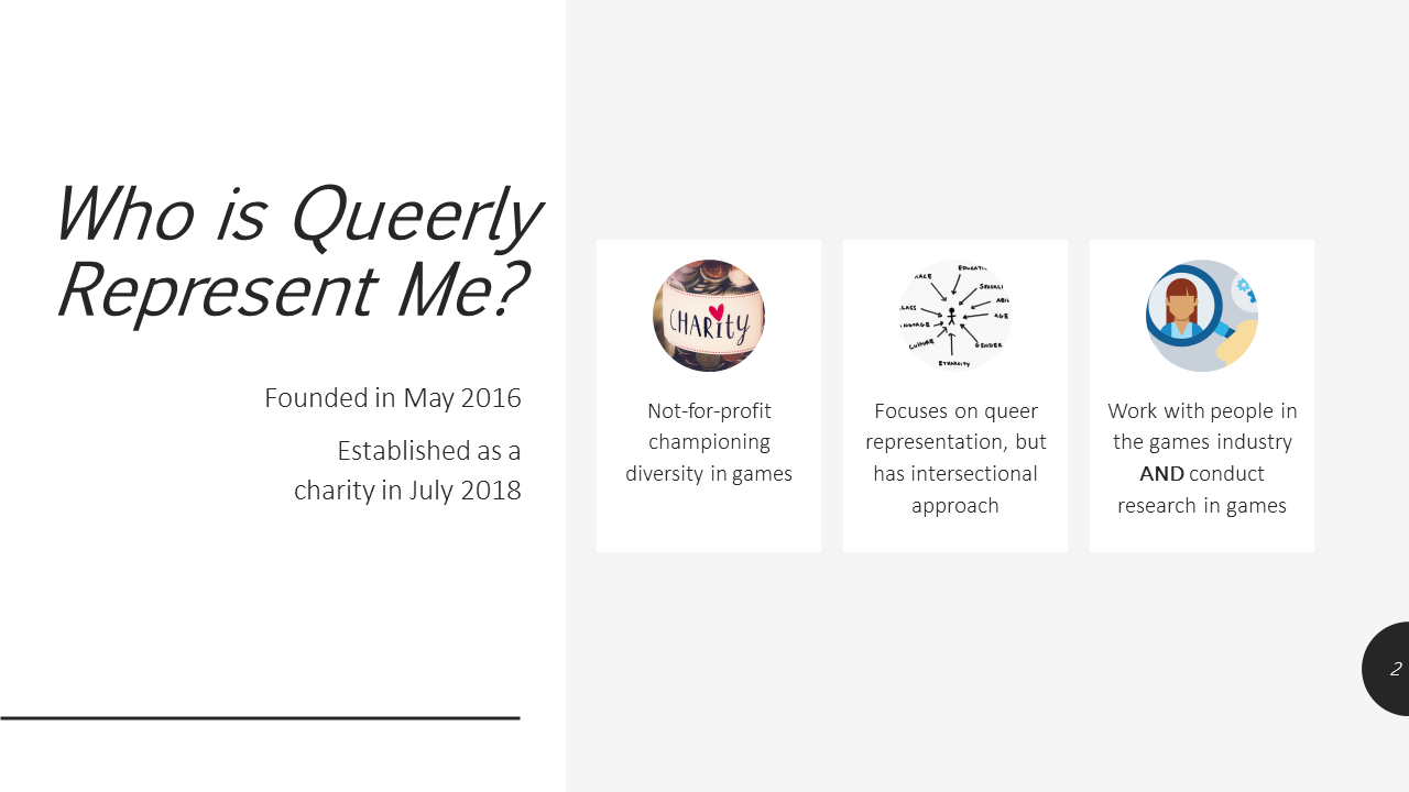Who is Queerly Represent Me? Founded in May 2016. Established as a charity in July 2018. Not-for-profit championing diversity in games. Focuses on queer representation, but has intersectional approach. Work with people in the games industry and conduct research in games.