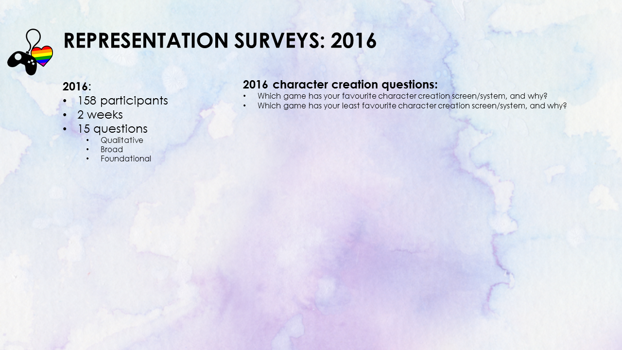 Representation Surveys 2016. 158 participants. 2 Weeks. 15 qualitative, broad, foundational questions. Character creation questions. Which game has your favourite character creation screen/system? Which game has your least favourite character creation screen/system?