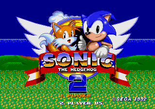 Sonic, a hedgehog and Tails, a fox, on the title screen.