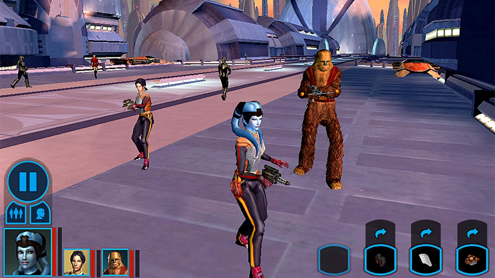 A femme looking person with long snake like hair and a bear-like humanoid creature holding weapons near some futuristic technological looking buildings. Other people stand in the background holding weapons.