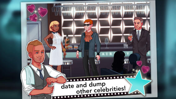 A masc looking person talking to a femme looking person near a bar. A masc looking person in a suit stands nearby. A masc looking person next to text reading 'date and dump other celebrities.'.