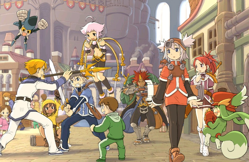 Several people and creatures outside a large castle in a city. Some are fighting with swords and others are walking.
