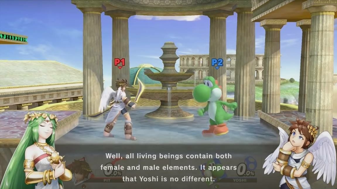 Two figures stand in front of a fountain, one is a masculine human and the other a green dinosaur. A dialogue box below shows a feminine figure with green hair saying 'Well, all living beings contain both male and female elements. It appears Yoshi is no different.'