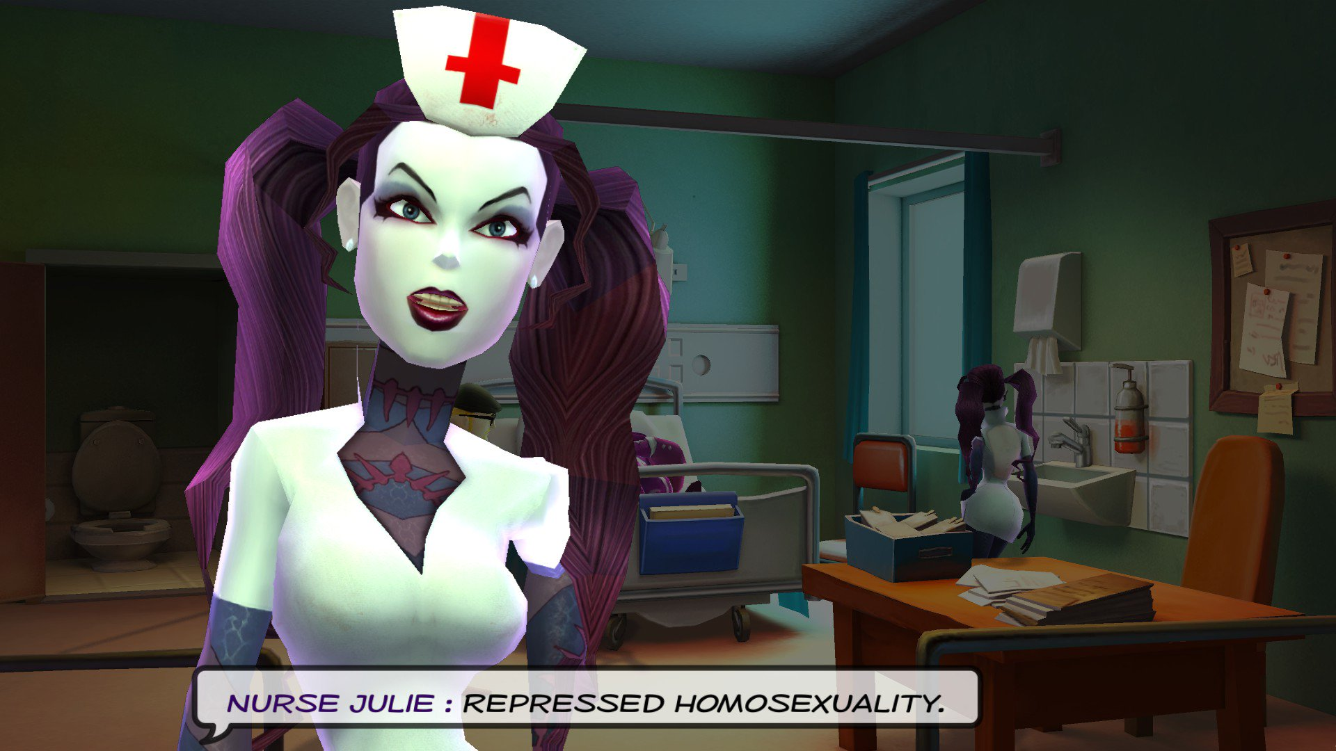 Nurse in a hospital room. Text reads 'Nurse Julie, repressed homosexuality'.
