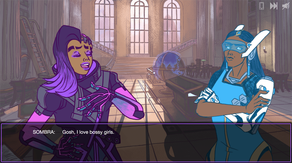 Two feminine figures stand side by side. The one with purple hair, Sombra, is speaking. A dialogue box below her says 'Gosh, I love bossy girls.'