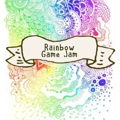 Rainbow spiralling patterns with text reading 'Rainbow Game Jam.'.