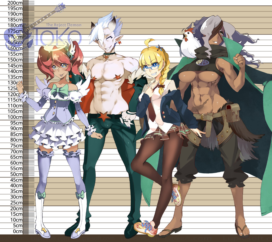 A femme looking person wearing a dress, a shirtless masc looking person with cat ears and stars on his nipples and crotch, wearing tight pants, a femme looking person wearing a school uniform, and a shirtless gender ambiguous person with unrealistic muscles with a chicken on their shoulder, wearing a cape. All standing in front of a height chart.