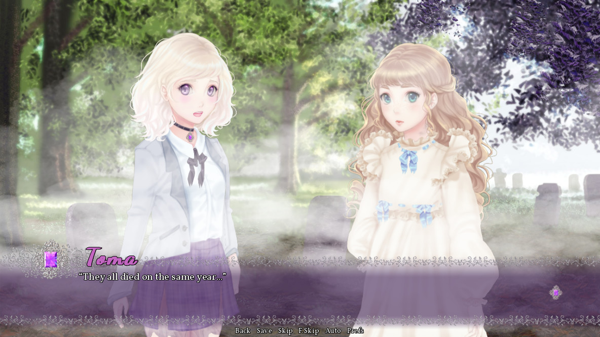 Two femme looking people standing in a cemetery in the forest. Dialogue reads 'They all died on the same day.'.